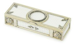 A Fabergé silver and transparent enamel stamp box, Moscow, 1899-1908.