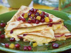 Pomegranate, Gouda and Pear Quesadilla with POM Salsa