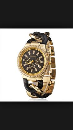 fb1f09415aa Elegant Women Geneva Brand Diamonds Gold Dial Stainless Steel Chain Analog Wristwatch  Ladies Dress Rhinestones Bracelet Watch Christmas Gift Black - Jewelry ...
