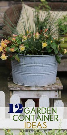 Old galvanized buckets and pails make wonderful flower planters! See a whole bunch more creative garden container ideas to use in your garden. #spon