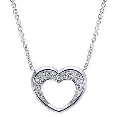925 Silver Diamond Heart Necklace   Gabriel & Co. New York