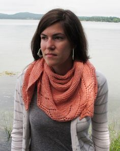 """Free Pattern from Kelbourne Woolens """"Knit from the neck outward in a half-circular shape out of Savannah, this lightweight and beautiful shawl is finished with a knit-on lace border after the body of the shawl is complete."""""""