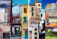 Travel collages, art, travel, Karen Stamper