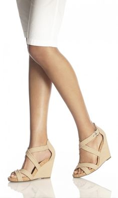 Strappy nude wedge sandal with a comfortable cork bed platform and gold-toned hardware