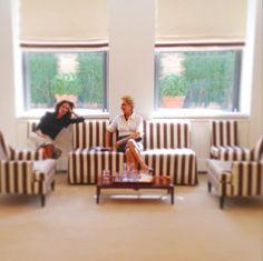 She's Got Style. Carolina Herrera in her House of Herrera Office Atelier in New York City. Black and white silk stripes.