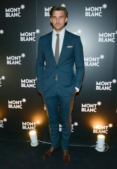 Johannes Huebl caught our eye in his steely suit at Montblanc's Madison Avenue event.