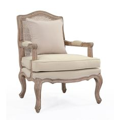 This piece has beautifully crafted wooden legs and a elegant back woven out of natural rattan fiber. With a comfortable sand colored cushion, this piece will add elegance and style to your living area.
