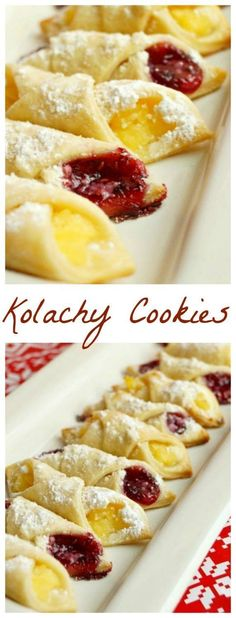 Kolachy Cookies Kolachy Cookie recipe to test. I like that the dough itself isn't sweetened, the fillings and powdered sugar dusting seems plenty sweet! Kolachy Cookie Recipe, Kolachy Cookies, Cookies Receta, Yummy Cookies, Fruit Cookies, Kolaczki Cookies Recipe, Apricot Cookies Recipe, Sugar Cookies, Fruit Cake Cookies Recipe