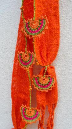 Crochet Scarf Handmade Orange Crocheted Scarf by ForGoodPeople Crochet Scarves, Crochet Shawl, Crocheted Scarf, Easy Crochet, Crochet Lace, Crochet Stitches, Crochet Designs, Crochet Patterns, Fabric Flower Brooch