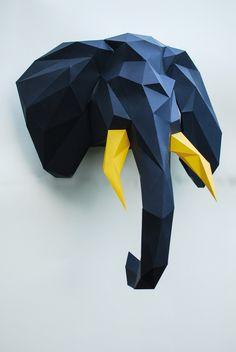 Ornaments – Paper elephant, Elephant trophy head – a unique product by Mike-Puliak on DaWanda