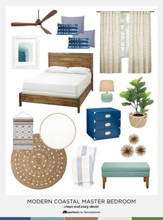 coastal bedrooms Tips and inspiration for creating a comfortable modern coastal style in your bedroom from AD Aesthetic on Modern Coastal, Coastal Style, Coastal Decor, Coastal Cottage, Coastal Interior, Coastal Bedding, Coastal Farmhouse, Coastal Rugs, Cottage Living