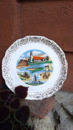 Vintage Kitsch NEBRASKA Souvenir State Plate by ClementineandIvy on Etsy