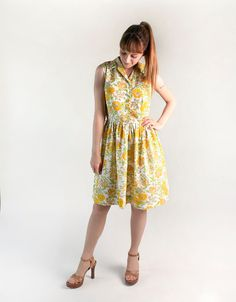 Vintage 1960s Dress - Floral Lemon Yellow Sunflower Summer Novelty Print Dress by zwzzy, $56.00