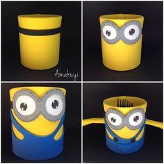 proceso para hacer un portalápices con forma de Minion con una lata y goma Eva : via MIBLOG