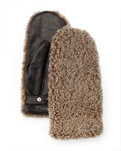 Rag Bone Shearling Fur Mittens Natural   Gloves and Accessory