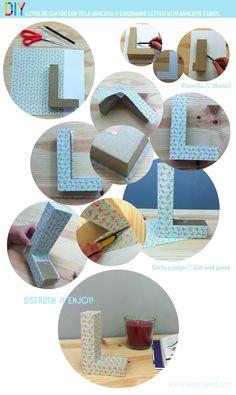 #DIY cardboard letter with adhesive fabric // letra de cartón con tela adhesiva #stepbystep #tutorial