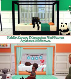 Toddler Canopy Bed SetI came back for the cuties & then I pulled my finger out & made these! • 2 new meshes by me • Separated & recoloured mattresses by me Download below [[MORE]]I hope you love...