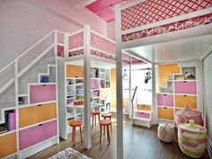 """Traditional bunk beds are one thing, but taking sleeping arrangements to soaring new heights is another. Popular fashion blogger, Nicole Feliciano, of Momtrends.com, created a fashionable yet functional room for her two little girls. """"In NYC, space is tight, and you have to be creative. We dream of the four bedroom, 2500 sq.ft. apartment, but for now it's not a reality. What we lack in normal square footage here, we make up for with tall ceilings. We decided to go vertical and create some…"""
