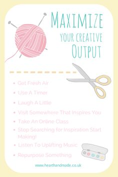 How To Maximize Your Creative Output - Heart Handmade uk Handmade Crafts, Diy And Crafts, Hunting Birthday, Feeling Stuck, Album Design, Survival Tips, Survival Skills, Business Inspiration, Good Advice