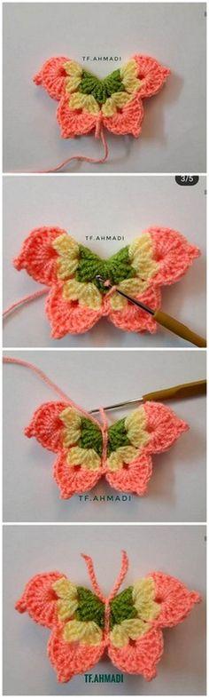 Elegant And Lovable Crochet Pattern Ideas Right Here - Diy 4 Craft Crochet Mat, Thread Crochet, Love Crochet, Crochet Crafts, Yarn Crafts, Crochet Toys, Crochet Projects, Crochet Butterfly Pattern, Crochet Flower Tutorial