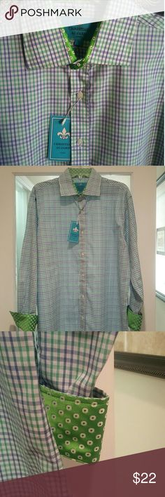 Christian Aujard Liberte Paris NWT never worn Designer Long Sleeve Shirt by Christian Aujard Liberte in Paris Contrast Cuff and neckline. Blue/ Purple Plaid Button Front SIZE L TREMENDOUS QUALITY IF YOU NEVER TRIED, THIS IS A GREA T DEAL. Christian Aujard Liberte Paris  Shirts Dress Shirts