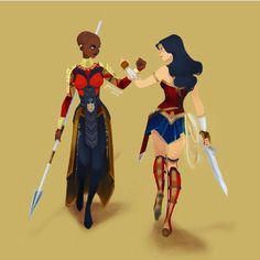 Shuri (Black Panther) and Diana (Wonder Woman) National Woman's Day <<< excuse you that's not Shuri, that's Okoye Black Panthers, Shuri Black Panther, Super Heroine, Univers Dc, Mundo Comic, Dc Memes, The Avengers, The Villain, Marvel Dc Comics