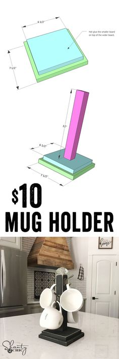 LOVE this DIY Coffee Mug Rack! Super easy to build and cheap... Perfect Christmas gift idea! www.shanty-2-chic.com