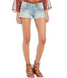 Miss Me Lace Frayed Hem Cutoff Shorts