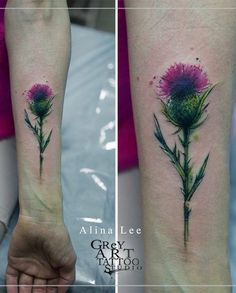 Alina Lee thistle tattoo