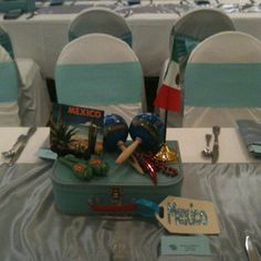 Mexico centerpiece Prom Themes, Event Themes, Wedding Themes, Around The World Prom Theme, Casino Party, Casino Night, Travel Baby Showers, Travel Party, Travel Themes