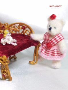 OOAK Dollhouse Miniature Crochet Bear 1/12 scale dollhouse artist NICO:KUNST  | eBay