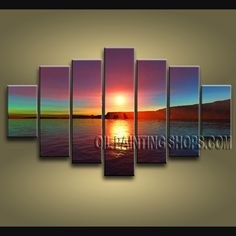 Huge Contemporary Wall Art Oil Painting On Canvas Panels Stretched Ready To  Hang Sunset. This