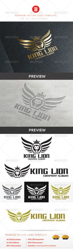 King Lion Logo Design Template Vector #logotype Download it here: http://graphicriver.net/item/king-lion/8679763?s_rank=1300?ref=nexion