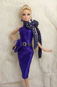 Handmade Dark Blue Purple Silk Outfit Dress & Bag Jewelry Barbie Silkstone Doll