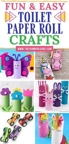 Fun & Easy Toilet Paper Roll Crafts for Kids Stocked up on toilet paper? These Easy Toilet Paper Roll Crafts for kids are a great way to recycle the toilet paper rolls. These fun toilet paper roll crafts will keep the kids busy for hours. Toddler Arts And Crafts, Spring Crafts For Kids, Paper Crafts For Kids, Easy Crafts For Kids, Craft Activities For Kids, Baby Crafts, Preschool Crafts, Easter Crafts, Projects For Kids