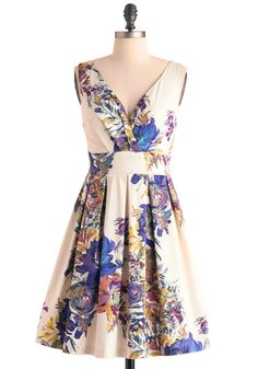 Floral Palate Dress - Mid-length, Wedding, Cream, Multi, Orange, Yellow, Blue, Purple, Pink, Floral, Pleats, A-line, Sleeveless