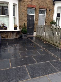 London Car Space Front Garden Driveway London Garden Design Brick paver front porch and walkway. Porches and Walks Paver designs, Patio p. Slate Paving, Driveway Paving, Garden Paving, Driveway Landscaping, Garden Pool, Front Garden Ideas Driveway, Front Path, Driveway Design, Front Entry