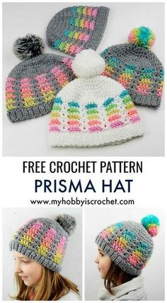 Prisma Hat – Free Crochet Pattern in multiple sizes Prisma Hat – Free Crochet Pattern in multiple sizes,Wollige Sachen ! Prisma Hat – Free Crochet Pattern in multiple sizes Crochet Headband Free, Crochet Beanie Hat, Crochet Gloves, Crochet Scarves, Free Crochet, Knit Crochet, Knit Headband, Crocheted Hats, Beanie Pattern