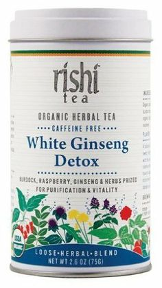 Rishi Tea White Ginseng Detox Organic Caffeine-Free Herbal Blend 2.4 oz (70 g) by Rishi Tea. $9.99. Fruity and sweet, with the energizing power of ginseng and raspberry, this blend gets its depth of character from distinctive roots like burdock and dandelion.  Ingredients: Organic schizandra berry, organic white ginseng, organic burdock root, organic rosehips, organic peppermint, organic licorice root, organic dandelion root, organic raspberry.  Brewing Guidelines  Water Tem...
