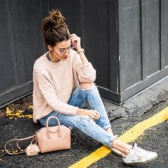 Insta Roundup | Hello Fashion. Grey top+distressed denim+white and gold sneakers+blush sweater+nude crossbody+nude fur bag pom. Fall Casual Outfit 2016