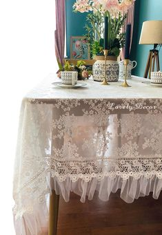 Shabby Chic Tablecloth, French Lace, White Lace, A Table, Most Beautiful, Farmhouse, Cottage, Victorian, Tea