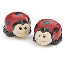 Whimsical Ladybug Ceramic Salt and Pepper Shakers Set- Kitchen Decoration Gift