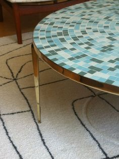 1950's Mid Century Modern Italian Brass Mosaic Tile Top Coffee Table Eames