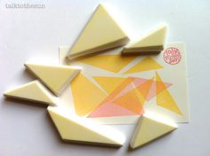 triangle rubber stamp set. hand carved rubber door talktothesun, $28.00