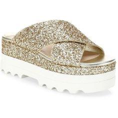 Miu Miu Glitter Crisscross Platform Slides Sandals featuring polyvore women's fashion shoes sandals apparel & accessories slide sandals criss cross sandals criss cross strap sandals open toe sandals slip on sandals