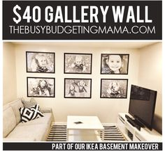 Our $40 Gallery Wall – IKEA Basement Makeover Detail – At Home With Natalie