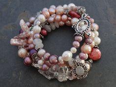 SALE+Pink+Pearl+Wrap+Bracelet+by+kpottery+on+Etsy,+$110.00