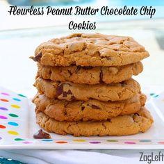 So good! Flourless Peanut Butter Chocolate Chip Cookies ZagLeft