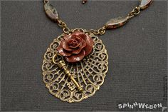 Steampunk Rose Key Amulet  necklace medaillon by SpinnWeben