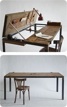 Repurposed Street Door: Closed, it's a dining table for 8 people, Open, it's a study desk with small drawer & pocket holder. By Manoteca: Italian Handmade Pezzo Unico / http://www.manoteca.com/index.php/site/product/name/indoor